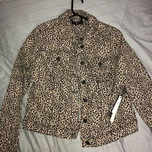Leopard print denim jacket NWT Size M